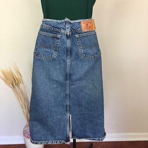 Raw edge vintage LUCKY BRAND denim skirt. Sz 6